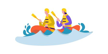 Active couple in safety suit and helmet enjoying rafting vector flat illustration. Cartoon man and woman holding paddle floating on water wave extreme sport concept isolated on white background
