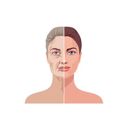 Female facial aging isolated on white background vector graphic illustration Vektorgrafik