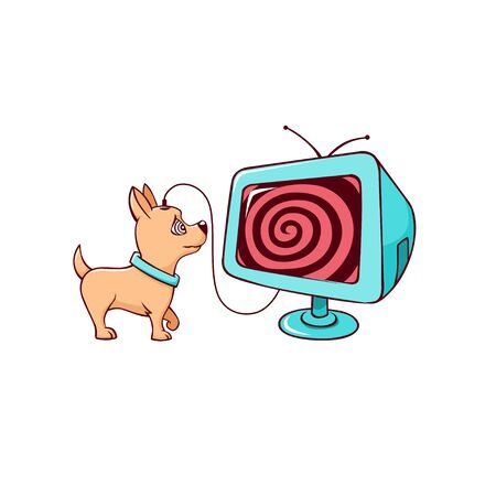 Cartoon little cute dog addicted television vector graphic illustration. Domestic animal watching at screen of hypnotic tv entertainment concept isolated on white background Stock Illustratie