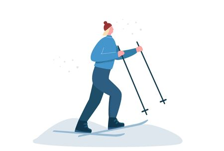 Female in sports winter clothing skiing on snow isolated on white background. Cartoon woman enjoying outdoor ski activity surrounded by snowflakes vector flat illustration