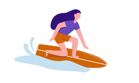 Summer active woman performing surfing moving at wave on board vector flat illustration. Female practicing outdoor extreme sport activity at sea water isolated on white background Illustration