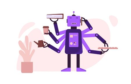 Cartoon robot with AI on work at office vector flat illustration. Cybernetic Artificial Intelligence automates office daily routine isolated on white. Robotics arms at production process Vectores