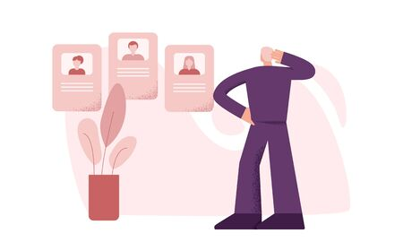 Thoughtful male recruitment employee looking at online resume for work big limbs style. Man hr manager reviewing candidates cv at internet website vector flat illustration big limbs style Illustration