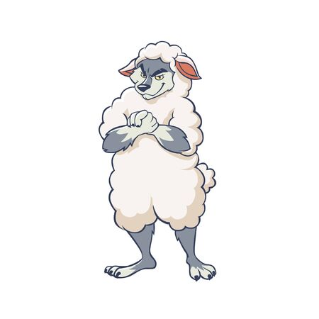 Cartoon cunning wolf wearing sheep clothing vector graphic illustration. Funny fraud wild animal character dressed in camouflage posing isolated on white background
