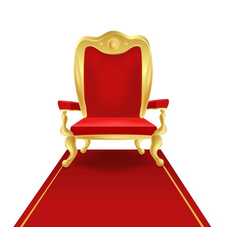 Luxury golden king throne chair with red royal carpet vector graphic illustration. Vintage cartoon vip seat place comfortable antique armchair isolated on white background