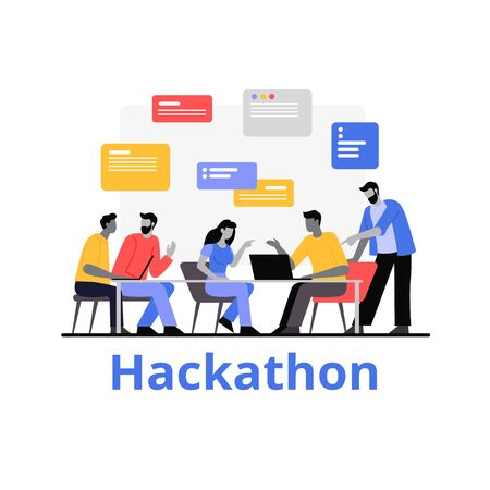 People working together hackathon vector flat illustration. Cartoon characters work as team development application and software isolated on white background. Programmers work with data Vektorové ilustrace
