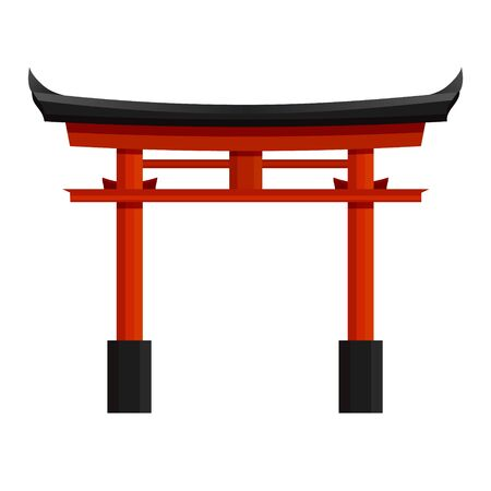 Japanese red torii gate vector graphic illustration. Traditional column arch front view isolated on white background. National oriental monument of architecture 向量圖像