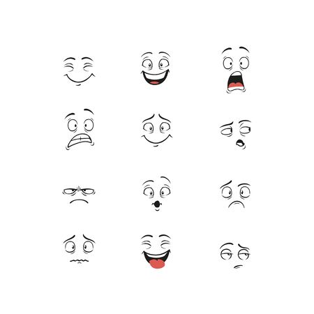 Set of cartoon character demonstrating different emotions isolated on white background