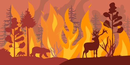 Silhouettes of wild animals at fire forest vector flat illustration