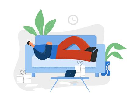 Lazy man lying on couch in front of laptop and heap of documents