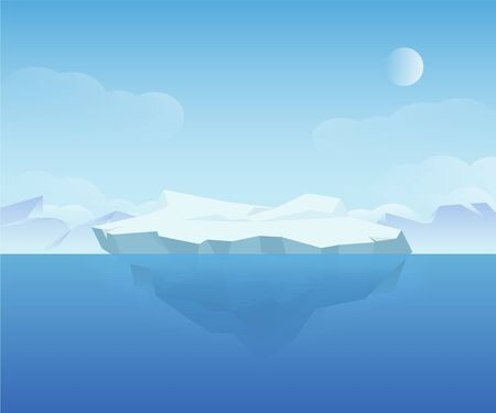 Beautiful natural ice landscape polar north nature scenery vector graphic illustration Vecteurs