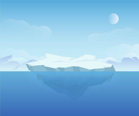 Beautiful natural ice landscape polar north nature scenery vector graphic illustration Vetores