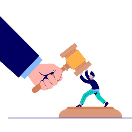 Cartoon tiny man trying stopped huge hand hit by gavel vector flat illustration