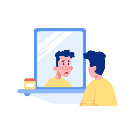 Surprised teenage guy with acne face looking at mirror vector graphic illustration