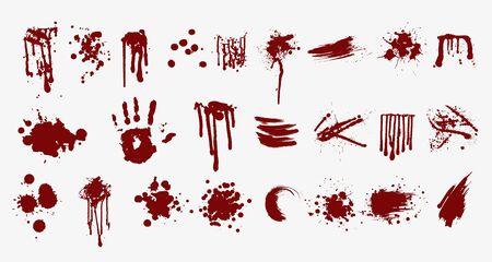 Various blood or paint splatters prints and splashes vector flat illustration Ilustração Vetorial