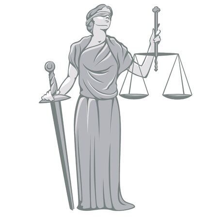 Cartoon goddess Themis holding sword of justice and weights by hands vector illustration