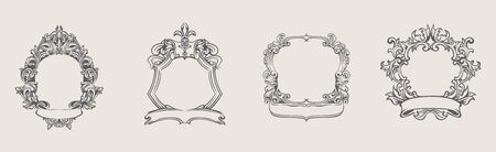 Set of different frame with ribbon in vintage realistic style with place for photo