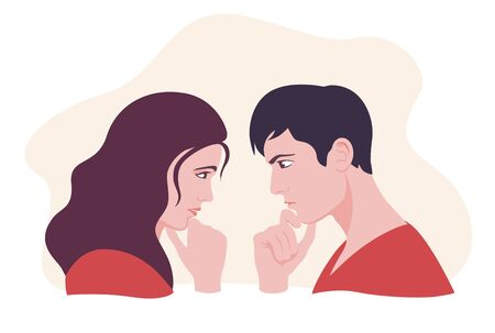 Female and male face looking each other and thinking vector flat illustration