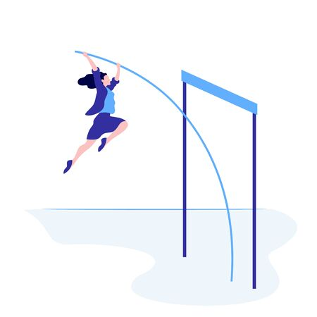 Successful business female overcome jump up vector flat illustration