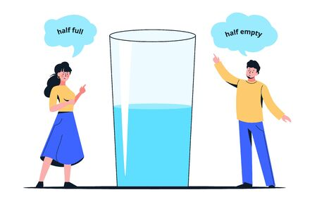 Colorful cartoon couple with half full or empty glass vector flat illustration