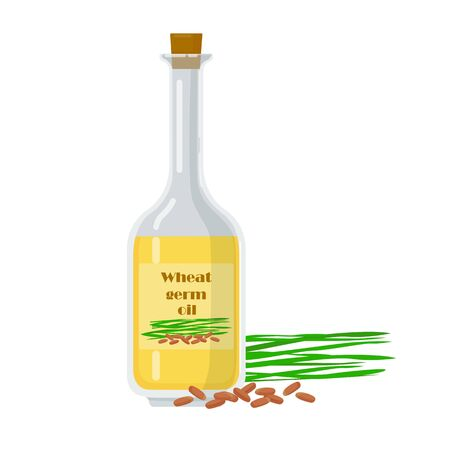 Wheat germ oil in glass bottle with natural ingredient. Liquid extracted from kernel vector illustration. Organic fresh product near packaging. Vettoriali