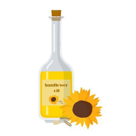 Bottle of sunflower oil with flower. Seeds near packaging template Vector illustration. Liquid used for cooking and frying vector illustration.