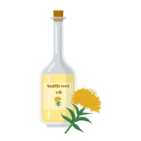 Bottle with sufflower oil and yellow flower. Product used in cosmetics, for cooking in salad dressing. Bottle with cork vector illustration.