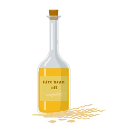 Bottle with rice bran oil and stalks vector illustration. Glass packaging filled with pure cooking oil.