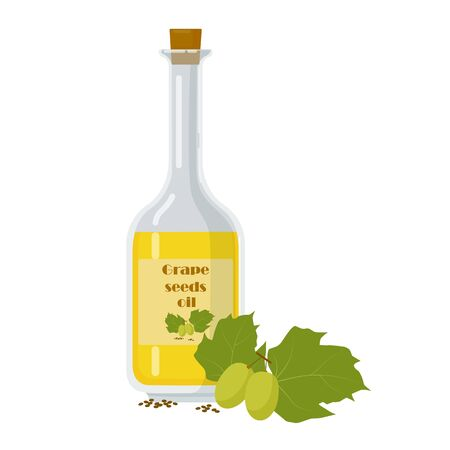 Bottle of essential oil made of grape seed. Label decorated with berries and leaves. Byproduct of winemaking cartoon vector illustration. 向量圖像