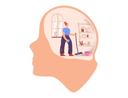 Cartoon housewife woman with mop and rag cleanse room inside giant head vector flat illustration