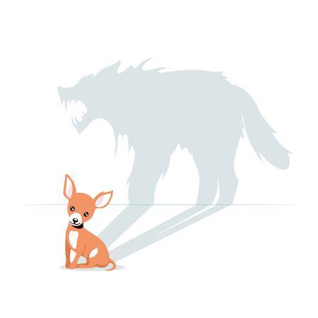 Cartoon cute little dog having horrible beast shadow isolated on white background Illustration