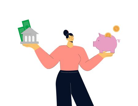 Cartoon colorful woman choosing between saving cash in bank and piggybank