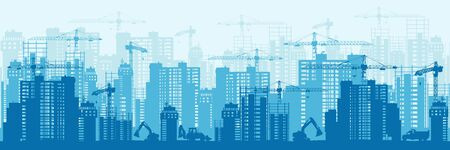 Detailed silhouette of colorful development urban background horizontal banner 向量圖像