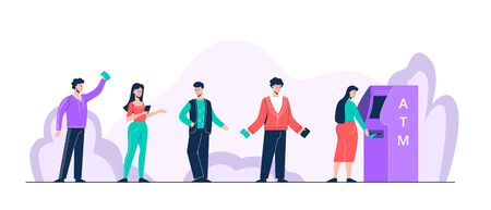 Cartoon positive people standing in queue to atm vector flat illustration
