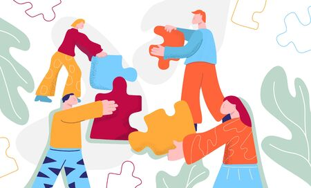 Cartoon people working together connecting puzzles pieces vector flat illustration