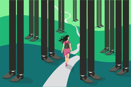 Cartoon backpacker travel tiny woman go on hard way surrounded by abstract forest legs businessman Illustration