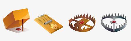 Set of various cartoon animal trap isolated on white background 일러스트