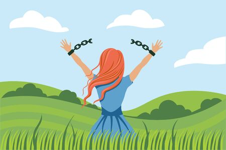 Back view cartoon woman break handcuffs enjoy freedom at natural landscape