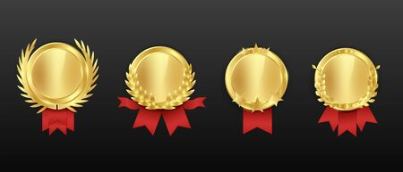 Gold cartoon award medal with red ribbon set isolated on black background 向量圖像