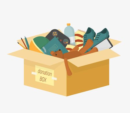 Cartoon donation box with lettering inscription full of things for aid people vector illustration. Colorful charity cardboard for donating help homeless and support needy isolated on white
