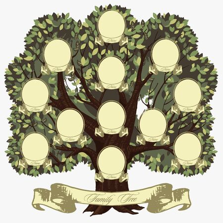 Cartoon genealogical family tree with lettering inscription vector graphic illustration