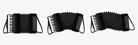 Set of cartoon classical accordion musical instrument with button and keyboard isolated on white. Collection of black and white play music equipment different condition vector graphic illustration