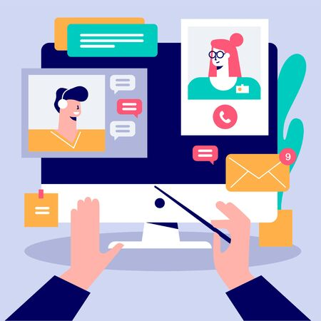 Cartoon male hands conduct in front of computer display vector flat illustration. Connection different people online working together isolated. Concept of remote business management