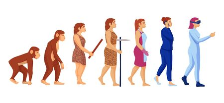 Cartoon character woman career evolution vector graphic illustration. Female development from monkey primate to hi tech person isolated on white. Emancipation and feminism concept