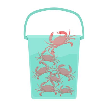 Cartoon crowd of crab in water at bucket vector graphic illustration