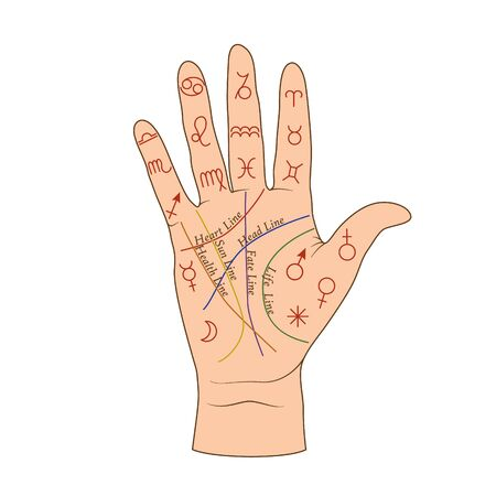 Cartoon human palmistry map on open hand vector graphic illustration. Colorful person palm with line, symbol and lettering inscription isolated on white background. Arm fortune telling Illustration