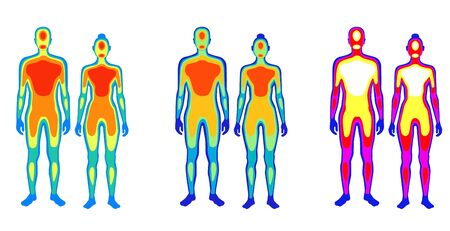 Set of cartoon body warmth thermogram man and woman vector flat illustration. Collection of couple infrared thermography isolated on white. Temperature torso area of bright spectrum human