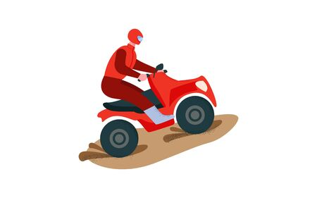 Rider on a red ATV. Extreme multi-wheel drive quad Illustration