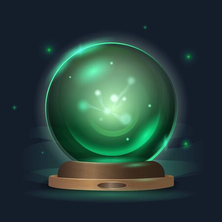 Magic crystal ball in a mystical emerald radiance