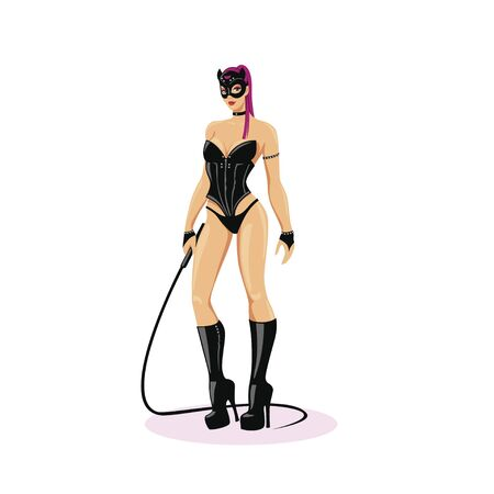 Beautiful, dominant mistress. Girl in latex, sensual underwear with a whip.